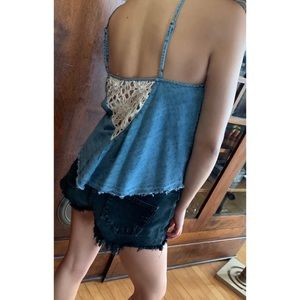 Free People Denim Tank With Lace Insert